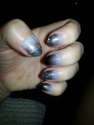 black grey and silver ombre with glitter finish