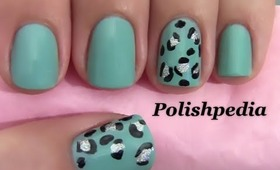 Teal Cheetah Print Nails