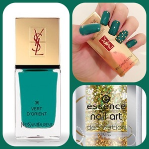 I used the nail polish from ysl and the golden aplications from essence.. 💅💚