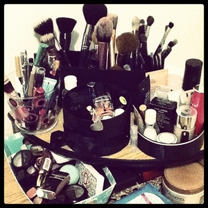 My Makeup Station. These are my current most frequently used items!