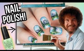 Following A Bob Ross Painting Tutorial ON MY NAILS!