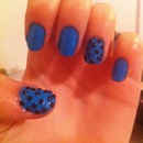 bright blue with black beads