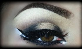 Sexy and Sultry Black & Gold Arabic Makeup Tutorial using Motives Cosmetics