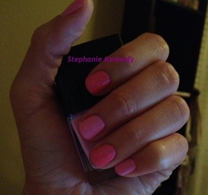 "Simple pink nails. Butter London Spring collection shade in ""Fruit Machine"""
