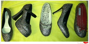 Had some of my friends come over and I taught them how glam up their old shoes with Mod Podge & Multi-glitter
