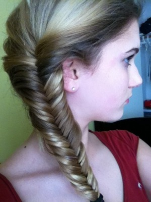 My attempt to do a fishtail braid.