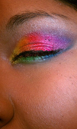 Using all the colors of the rainbow this is my take on a smokey eye rainbow look