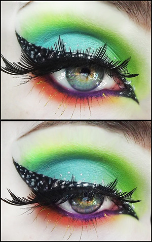 Another sickeningly neon eye look featuring Sugarpill and Sleek! Also inspired by Illamasqua's 'Speckled' collection!