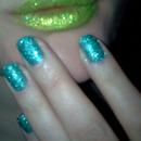 Green glitter lips