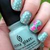 Floral/Polka Dot nails!