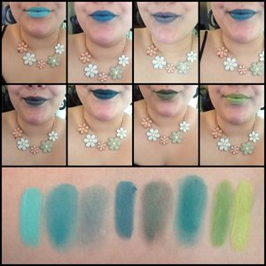 "Top Row, Left to Right: ""Mint Madness"" by Fierce Magenta, ""Lobotomy"" by Impulse Cosmetics, ""Toy Store Cowboy"" by Impulse Cosmetics, ""Aurora"" by Fierce Magenta Middle Row, Left to Right: ""Bogart"" by Impulse Cosmetics, ""Agent X"" by Impulse Cosmetics, ""Envious Desire"" by Kleancolor, ""Magic Lime"" by Klean Color Bottom: Swatches in order of listing"