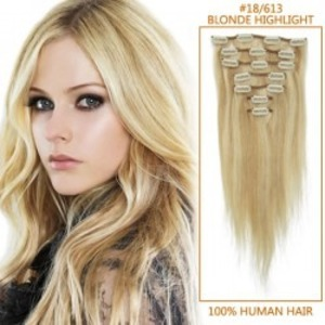 30 Inch #18/613 Blonde Highlight Clip In Remy Human Hair Extensions