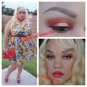 I began by using Urban Decay eyeshadow primer as a base.   Eyes -  Morphebrushes eyeshadow in 30 (crease) Flamepoint (Sugarpill, crease) Makeup Forever Flash palette red  (inner and outer and lid) Love + (Sugarpill, inner and outer lid) Goldilux (Sugarpill, center lid)  Brows - Anastasia Beverly Hill Brow Wiz in Soft Brown.   Lashes - Saint by Sugarpill   Lips - Ruby Woo and Morange by Mac Cosmetics   Clothing -  Outfit is from Modcloth
