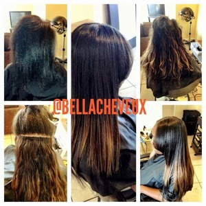 Before & after of press and flat iron and 3 individually sewn tracks for fullness, length, and highlight