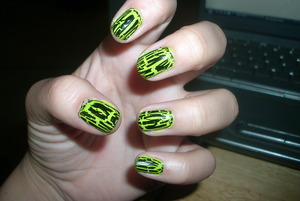 Shatter Nail Polish by O.P.I over an acid-y green nail polish by Pure Ice. www.tippertea.tumblr.com