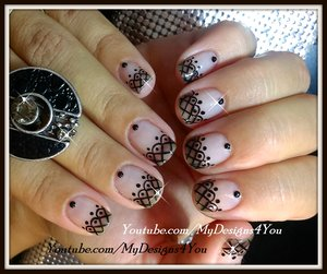 Lace Nail Art With Sheer Polish | Black Lace Short Nails https://www.youtube.com/watch?v=KbmXrvqj2Gk