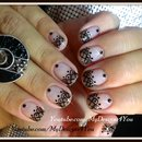 Sheer polish lace nail art