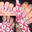 Vintage style floral nail art