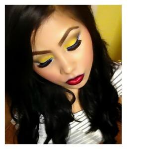Yellow,brown,black,,blue eyeliner,white eyeliner 😀