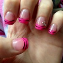 Pink and Black Zebra French Manicure with Mini Silver Bow