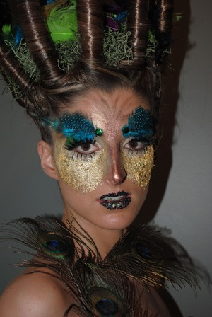 My model I did for a competition, birdcage themed, did hair plus make up!