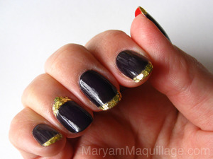 black plum, gold glitter and red backs! Info and tutorial on my blog: http://www.maryammaquillage.com/2012/03/royal-red-back-nails.html