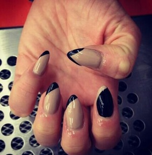 pointed nails  black and nude