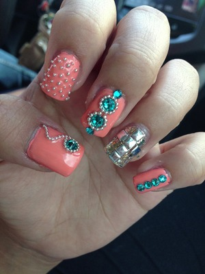 Got my nails done for summer<3 just love them! Studs n rhinestone