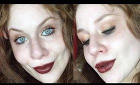 PEEK A BOO! | Golden Smokey Eyes with Chocolate Red Lips Makeup Tutorial