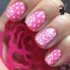 Pink flower dot nails