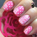 Pink flower dot nails