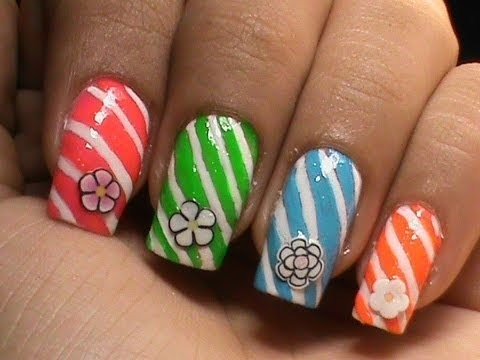 easy candy cane nails  flowers and candies  cute nail