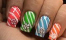 Easy Candy Cane Nails - Flowers and candies ! Cute nail polish Nail Art Designs Ideas DIY Easy Kids