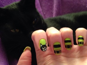 Design by TotallyCoolNails, created with Sinful Colors Innocent and Black on Black.