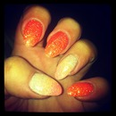 orange faded nails