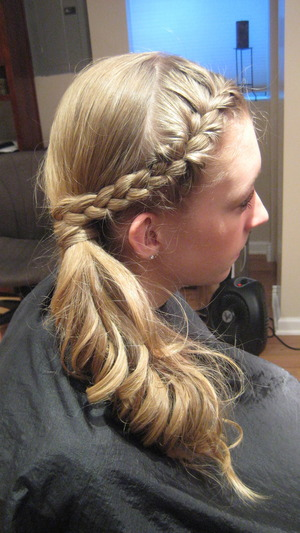 side pony-tail with frontal braid