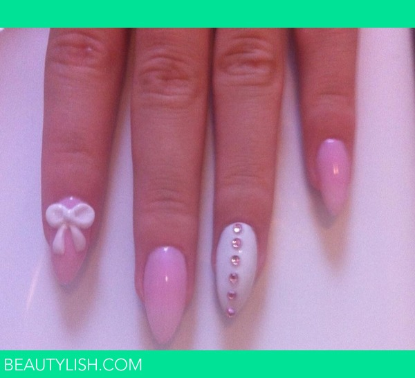 Pink and white stiletto nails | Kirsty H 's Photo | Beautylish
