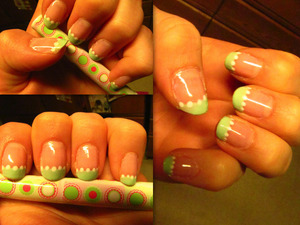 Light pink base with mint french tips. Almost like pastel watermelons! :)