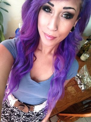 IN LOVE w/ my new purple hair & this makeup (: smokey eye w/ false lashes