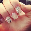 Glitter and bejeweled nails