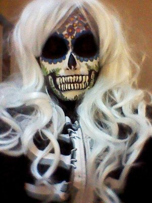 O.K so I know there are hundreds of gorgeous sugar skull makeup images out there, but some friends wanted me to see me create one.  They were asking for tips and simplifications for Halloween so I came up with the idea of using some of my unused rubber stamps for the details.  Here's a link to my short YouTube clip with more pictures.  https://www.youtube.com/watch?v=qvdgCK10vdw  Thanks for looking!