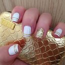 White and Gold with striping tape and sparkles - OPI Polish
