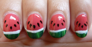 For a tutorial, please go to: http://nailsbystephanie.blogspot.nl/2012/08/tutorial-watermelon-nails.html