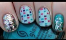 Disco Squares and Glitter Nail Art Tutorial