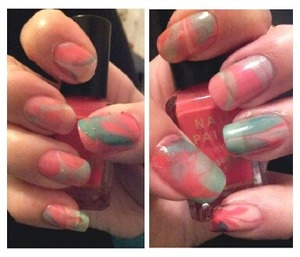 Tried the water marble after watching Cutepolish's videos on Youtube. Next time with brighter and newer nails polishes.
