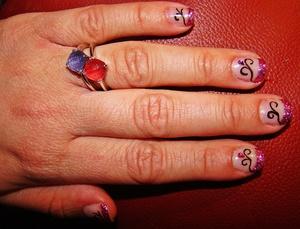 Gel nails with nail art