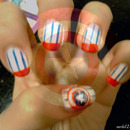 """Captain America"" inspired nail art"