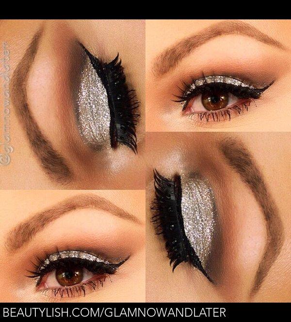 Silver Glitter Eye Makeup Christine Us Glamnowandlater Photo