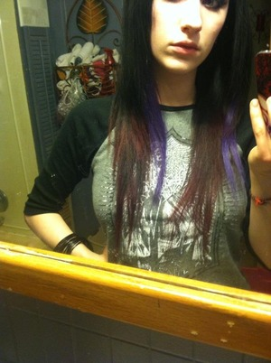 the bright purple hair is the cheap clip in extensions from Sally's.