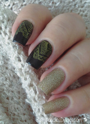 http://stampoholicsdiaries.com/2015/02/09/black-and-gold-nails-with-kiko-819-accessorize-gold-dust-and-born-pretty-bp-l-008/